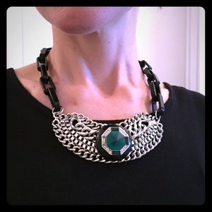 Jewelry - DONATING 10/21 Blk/Silver/Green Statement Necklace